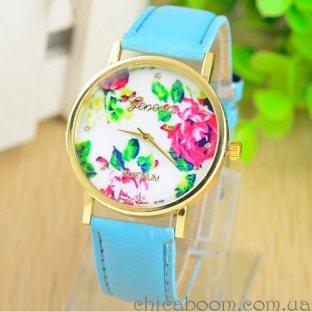 Часы Geneva с кожаным ремешком голубого цвета (цветочный принт)