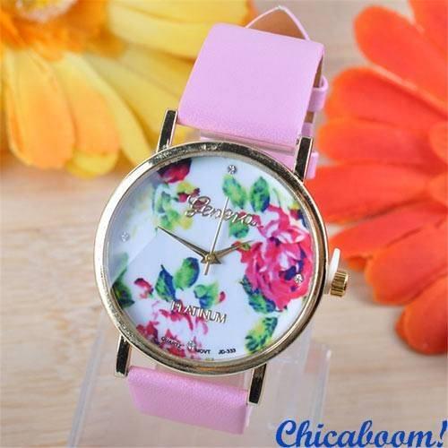 Часы Geneva с кожаным ремешком розового цвета (цветочный принт)