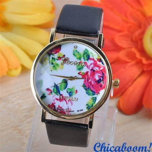 Часы Geneva с кожаным ремешком чёрного цвета (цветочный принт)