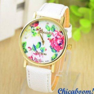 Часы Geneva с кожаным ремешком белого цвета (цветочный принт)