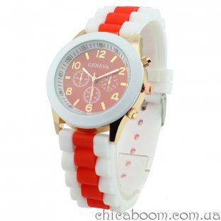 Часы Geneva с силиконовым ремешком с красной вставкой