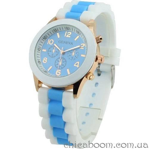Часы Geneva с силиконовым ремешком с голубой вставкой