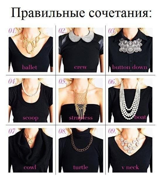 правильные сочетания вырезов и ожерелий