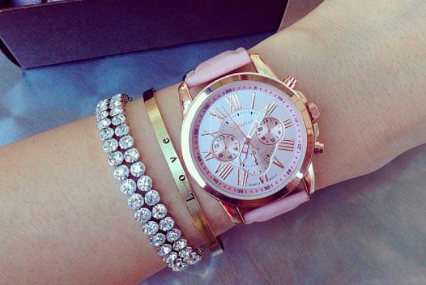 Часы Geneva с розовым ремешком