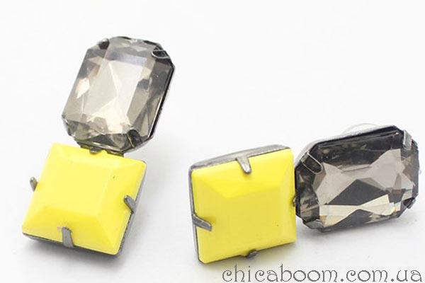 квадратные жёлтые серьги купить в магазине Чикабум