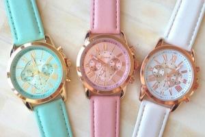 Стильные вещи. Часы Geneva с кожаным ремешком.
